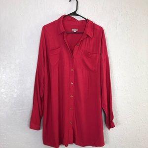 J jill tunic blouse button down XL